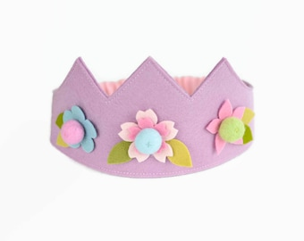 Wool felt crown, Flower crown, Birthday crown, Fairy crown, Girls crown