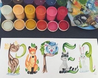 Wald, Wald, Eule, Fuchs-Tier-Kreaturen Name Malerei - Maßarbeit zu bestellen