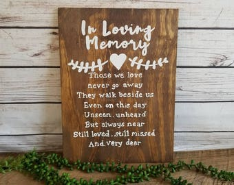 Wedding Memorial Sign, Memorial Table Sign, Memorial Plaque, In Loving Memory, Memory Wedding Decor, Those We Love Don't Go Away