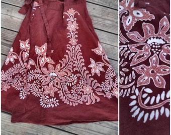 Vintage 70's Cotton Boho Batik Maxi Wrap Skirt