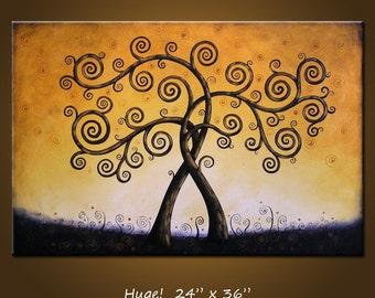 Large Wall Art / Landscape Tree Painting / Acrylic Wall Decor / Original painting / Extra large living room art / wedding anniversary gift