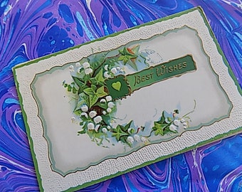 Antique Post Card - Best Wishes - Floral