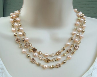 Freshwater Pearl Triple Strand Necklace.Crystal.Gold.Silver.Statement.Bridal.Chunky.White.Multi Strand.Holiday.Formal.Gift.Holiday.Handmade.