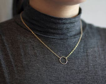 """Dainty Open Circle Necklace Choose Length """"Everything Happens for a Reason"""" Affirmation 14k Gold Filled / Sterling Silver adjustable minimal"""