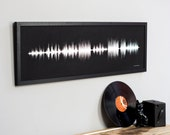 PERSONALISED FAVOURITE SONG Sound Wave Print. **Large Unframed** Striking Art of First Dance Song as Wedding Anniversary Gift for Him or Her