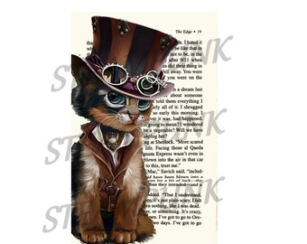 Cat 5 STEAMPUNK art print painting wall decor - printable instant download