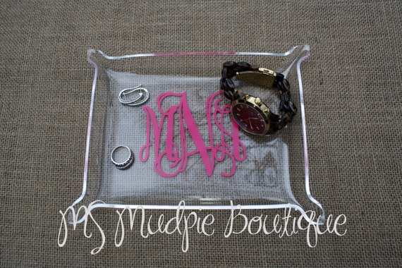 Medium Acrylic Monogram Jewelry Tray Personalized Tray Desk