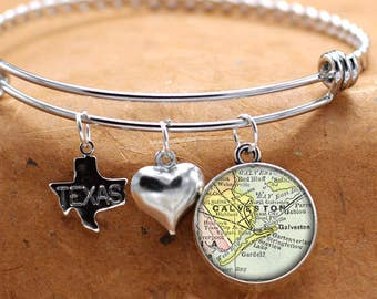Map Charm Bracelet Galveston Texas State Of TX Bangle Cuff Bracelet Vintage Map Jewelry Stainless Steel Bracelet Gifts For Her