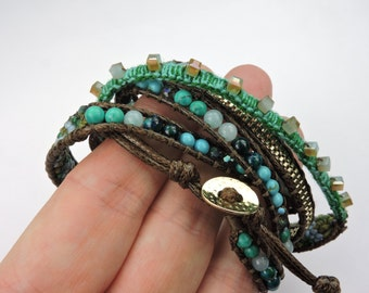 Summer Fashion Wrap Bracelet with Crystal Glass Beads and Turquoise Colors, Wrap Bracelet, Beaded Wrap Bracelet, Trending Bracelet, Bracelet