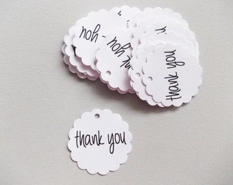 "Mini Gift Tags, Thank You Tags, Party Favor Tags, 1.5"" Set of 50, Ships in 2-3 Business Days"