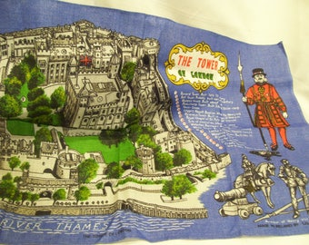 The Tower of London,Ulster Vintage Souvenir Irish Linen Tea Kitchen Dish Towel,Tea Linen,Travel Souvenir