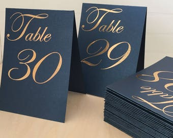Luxury A-Shape Wedding Table Number Signs, Golden Print Numbers Double Sided Table Cards, Tented Table Decor, Tented Table Numbers, Navy