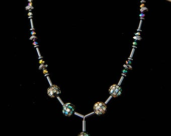 Mother of Pearl Mosaic Necklace - Swarovski AB Crystals and Hematite