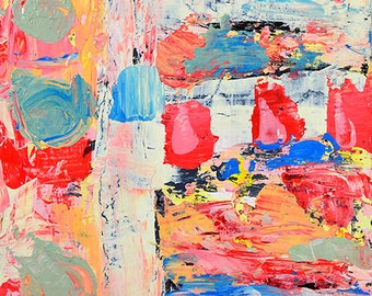Red & Blue Abstract Art. Affordable Abstract Painting.  Palette Knife Painting. Christmas Gift for Him. His or Hers Home Decor