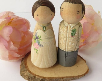Wedding Cake Toppers// Peg Dolls Custom Wedding Cake toppers// Wooden Dolls//Cake toppers