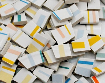 Broken China Mosaic Tile -Recycled Plates -  Stripes - Colorful Pastels - Set of 130+