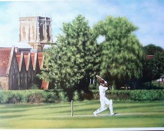 Cricket Print From Original Oil Painting. Perfect Gift for Father's Day. Cricket Lovers. Sport. English Country Scene. Wall Art.