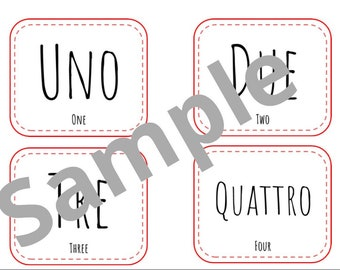 Montessori Italian Numbers / 3 part cards / Italian Number Cards / Italian Number Flashcards / Montessori 3 Part / Italian Number Printables