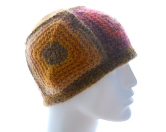 CROCHET PATTERN: The 5-Square Beanie for Men and Women Hat Pattern, Instant Download PDF