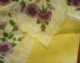 Vintage Handkerchief, 1970s, Sheer Yellow with Purple Flowers Cotton Hankie, Antique Linens, Vintage Hankies, Embroidered Linens, Wedding,