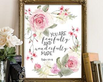 Bible verse wall art print, nursery wall art, fearfully and wonderfully made, psalm 139 14, bible verse, scripture print, bible quote art