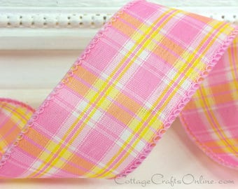 """Wired Ribbon, 2 1/2"""", Pink, Yellow, White Check Plaid - THREE YARDS - Offray """"Meadow Plaid"""", Spring, Easter, Summer Wire Edged Ribbon"""