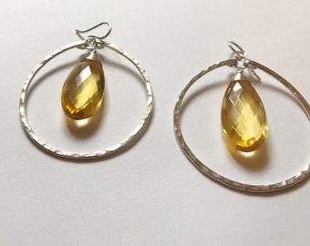 Sterling and Citrine Quartz hoop earrings