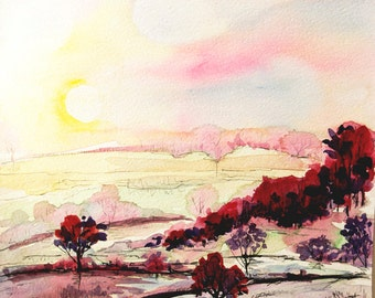 Watercolor Sunrise painting Pink wall art landscape painting watercolor nature art rural landscape painting Sunrise art
