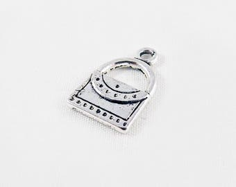 BF46 - Charm pendant silver antique handbag patterned luxury Fashion trend fashion