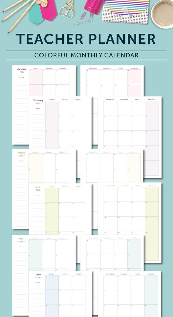 2018 teacher planner january 2018 december 2018 lesson planner calendar teaching australia
