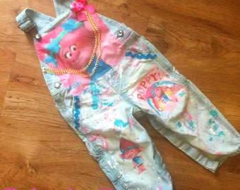 trolls princess poppy theme denim overall