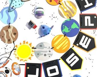 Outerspace Banner / Planet Birthday Banner / Star Trek / Star Wars / Buzz Lightyear Inspired / Solar System Birthday Party
