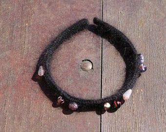 headband black angora and Merino Wool