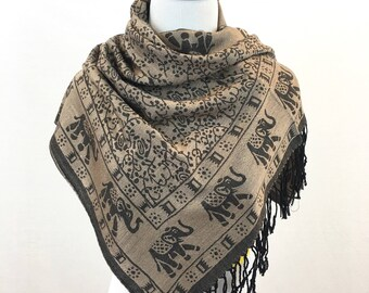 Pashmina Scarf Brown/Gold Scarf Pashmina Shawl Gift For Her Fashion Accessories Mothers Day Pashmina Scarves Women Scarf