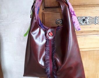 Tote - shoulder - bag - aubergine or Burgundy leatherette