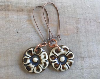 Midnight Blue Flower Earrings-Porcelain Jewelry-Kim OHara Designs-Ceramic Jewelry