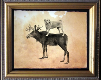 Labrador Retriever Yellow Lab Riding Moose - Vintage Collage Art Print on Tea Stained Paper dog art - dog gifts - mother's day gift