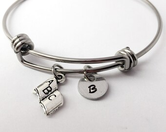 Book Charm Bangle Bracelet. Reading charm. ABC charm. Charm Bracelet. Gift For teacher. Gift For reader.