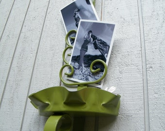 Organizer Vintage Hanging for Mail or Photos Scrolly Iron Upcycled in Glossy Moss