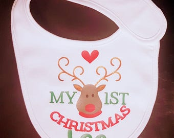 Personalised, baby gift, 1st Christmas, baby bib, first Christmas, gift for baby boy, gift for baby girl, baby's 1st Christmas,
