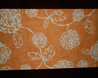 Orange and Ivory Floral Table Runner. Year Round Table Runner. Thanksgiving Table Runner. Spring, Summer, and Autumn Table Runner.