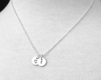 Letter f Necklace with Heart, Sterling Silver Jewelry, Tiny Initial Necklace, Tiny Heart Necklace, Charm Necklace, Hand Stamped Jewelry