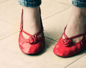 Ballet Flats - Red Alert - Handmade Leather shoes - CUSTOM FIT