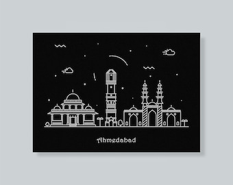 Ahmedabad, India Cityscape Travel Poster as A Minimal Housewarming / Memorabilia Gift Idea, Indian, Amdavad Skyline Art Print