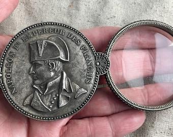 Napoleon Bonaparte Magnifying Glass, vintage, antique, French, 6 cm, folds out, de-stash