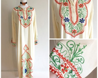 60s Flowing Embroidered Bohemian Maxi Dress Vintage Native Hostess Dress