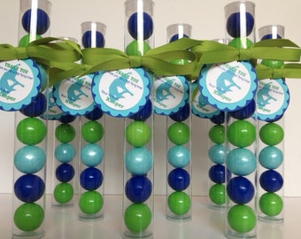 JUMPING , Jumping Party, Bounce Party, Trampoline Party Favor Gumball Tube Party Favors, Set of 12, with Personalized Tags and ribbon
