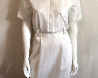 Vintage Women's 80's White Dress, Short Sleeve by Jessica Howard (M)