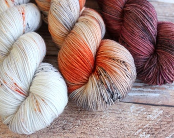 Three Skein Shawl Kit #5 - Super Wash Merino - Hand Dyed Yarn