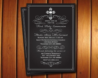 Chalkboard First Communion Invitation - Digital 1st Communion Invite